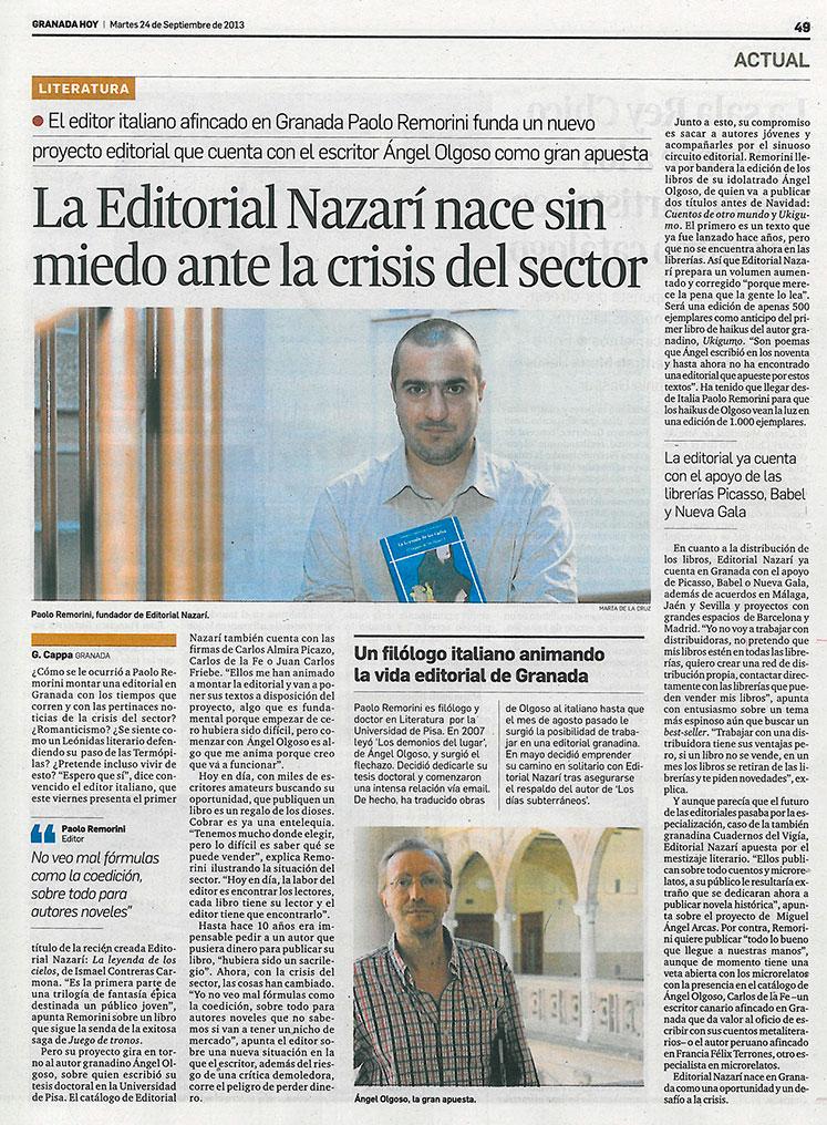 Granada Hoy, entrevista a Editorial Nazarí