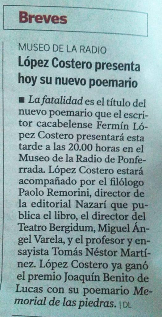 La fatalidad - Fermín López Costero - Diario de León