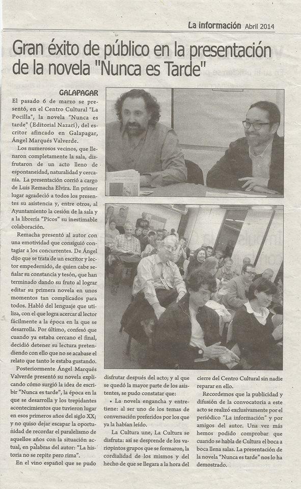 Nunca es tarde - Ángel Marqués Valverde - La Información de Galapagar
