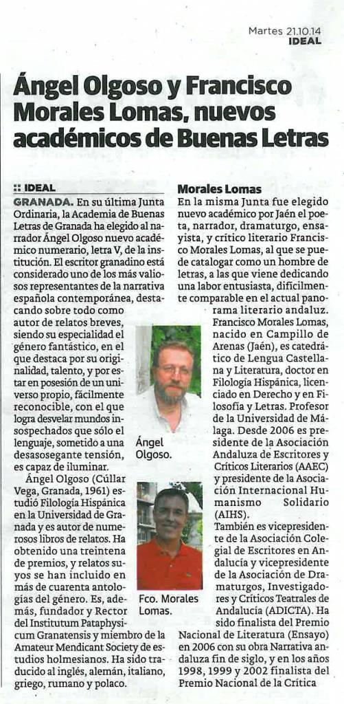 Ángel Olgoso - Francisco Morales Lomas - Academia de Buenas Letras - Ideal