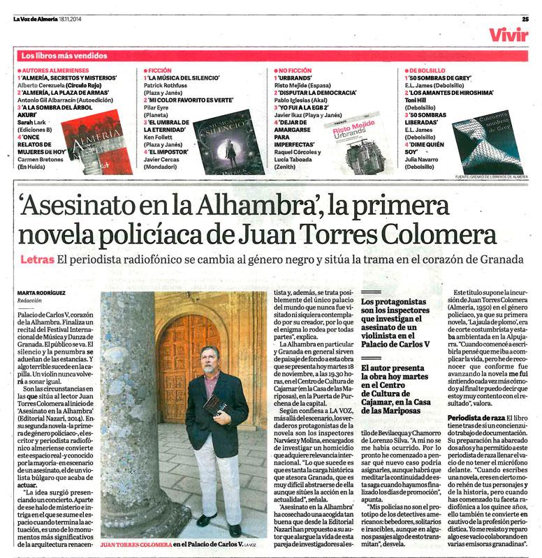 Asesinato en la Alhambra - Juan Torres Colomera - La Voz de Almería