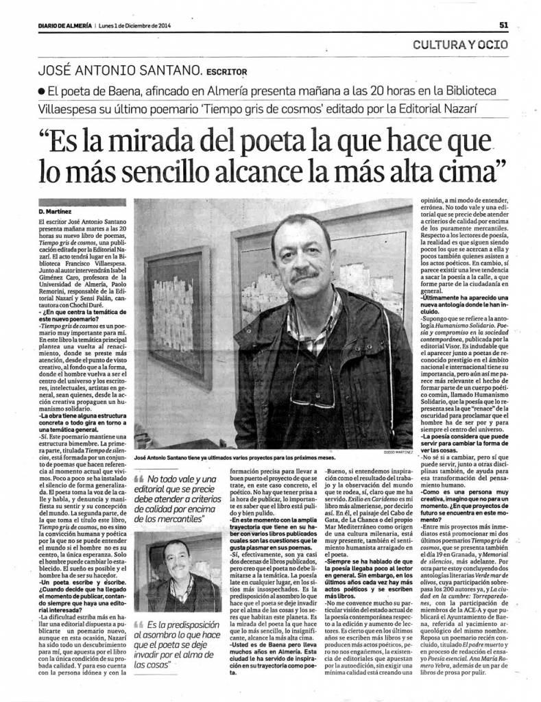 Tiempo gris de cosmos - José Antonio Santano - Diario de Almería