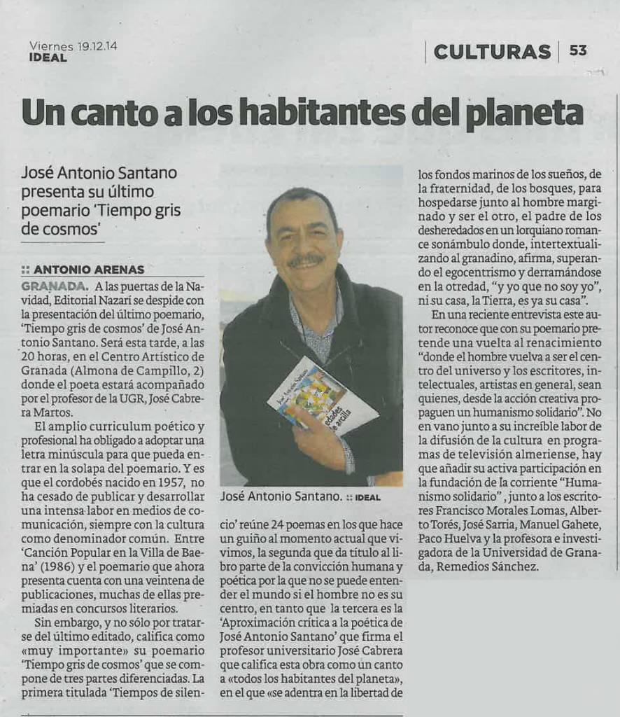 Tiempo gris de cosmos - José Antonio Santano - Ideal
