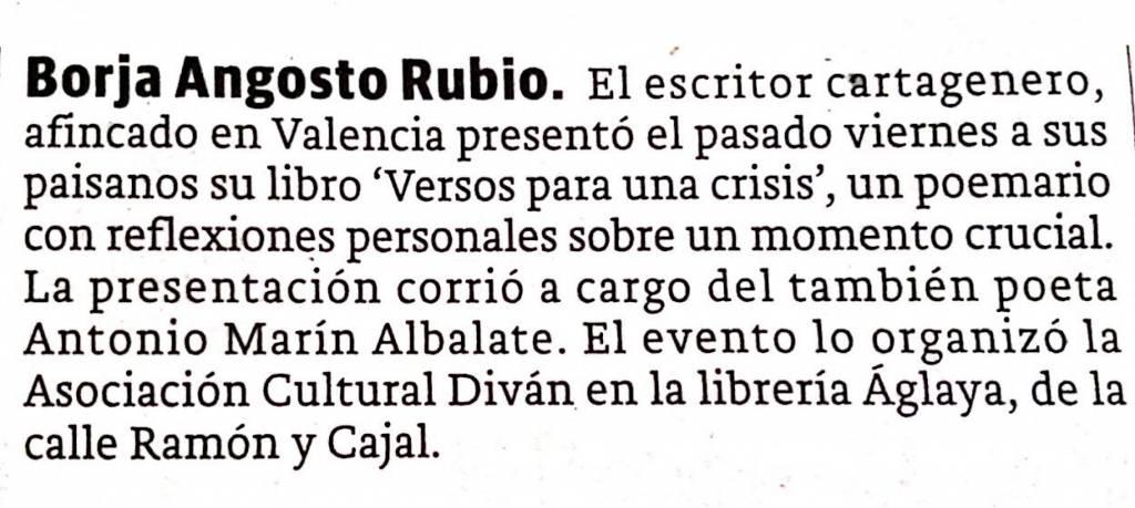 Versos de una crisis - Borja Angosto Rubio - La Verdad