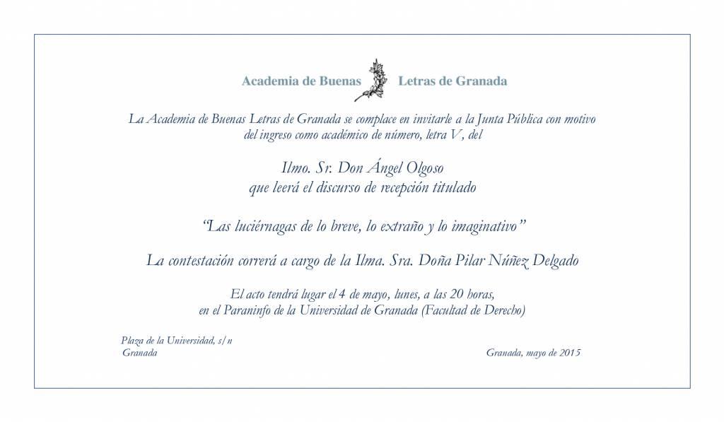 Ángel Olgoso - Academia de las Buenas Letras de Granada