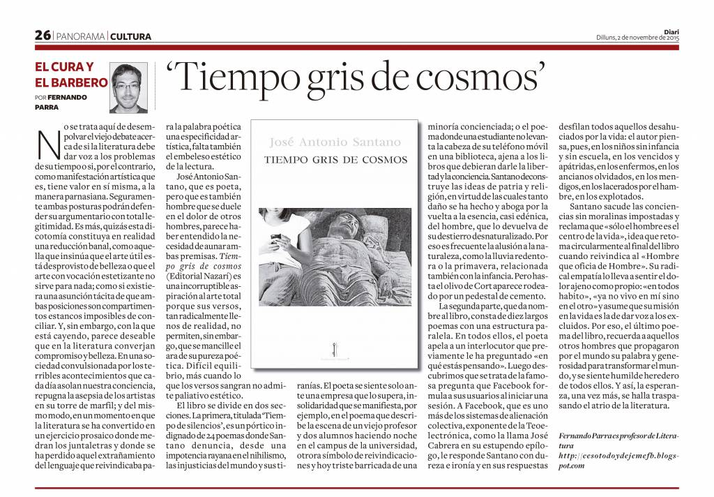 Tiempo gris de cosmos - José Antonio Santano - Diari de Tarragona
