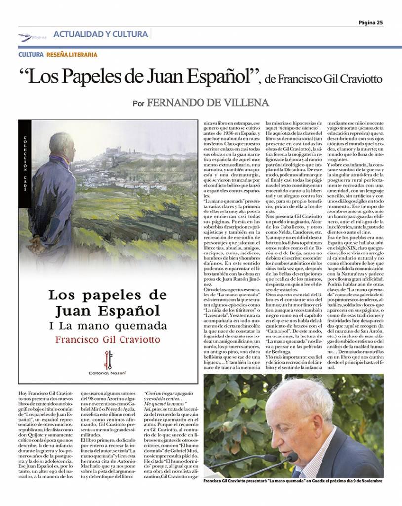 Los papeles de Juan Español. La mano quemada - Francisco Gil Craviotto - Fernando de Villena - Wadi-as