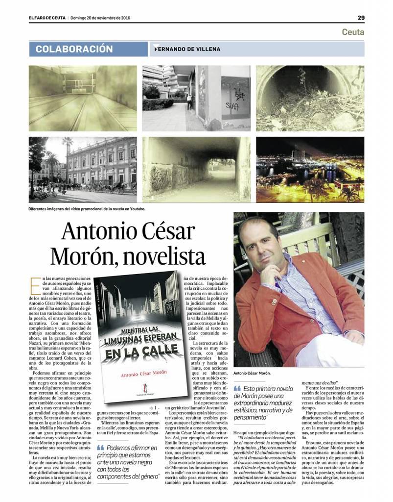 Mientras las limusinas esperan en la calle - Antonio César Morón - Fernando de Villena - El faro de Ceuta