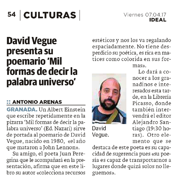 Mil formas de decir la palabra universo - David Vegue - Ideal