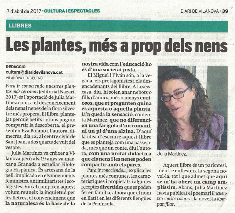 Para ir conociendo nuestras plantas - Julia Martínez - Diari de Vilanova