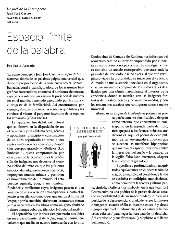 La piel de la intemperie - Juan José Castro - Quimera