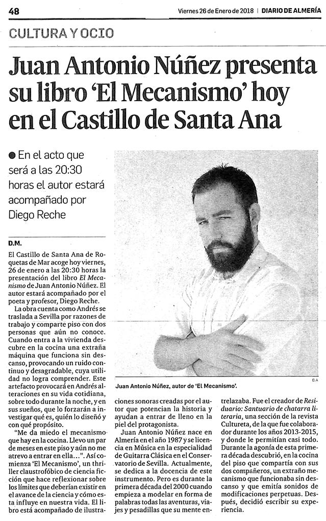 El Mecanismo - Juan Antonio Núñez - Diario de Almería