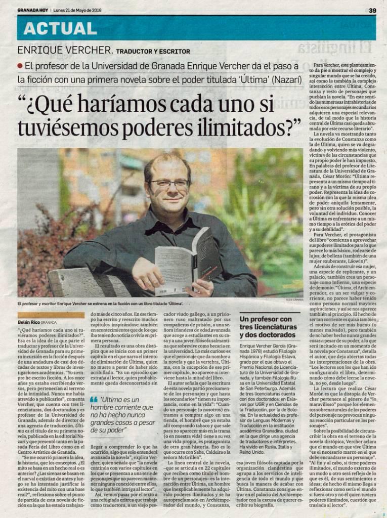 Última - Enrique Vercher - Granada Hoy
