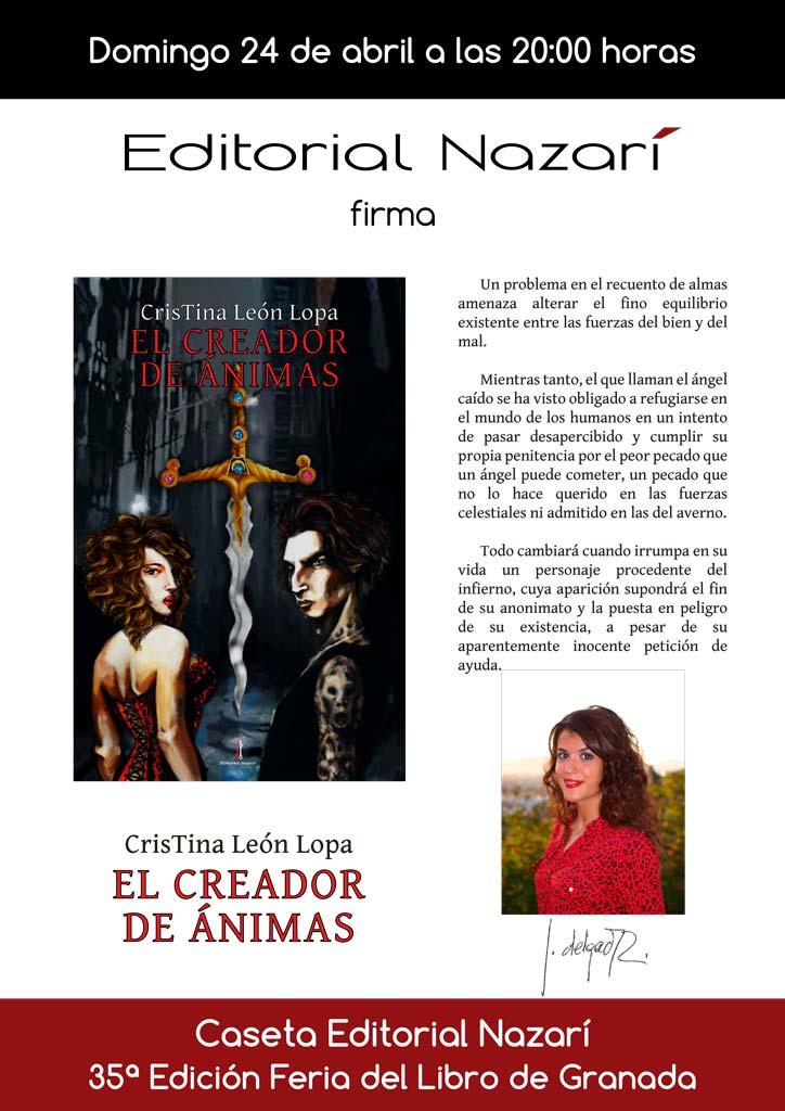 El creador de ánimas - Cristina León Lopa - Feria del Libro de Granada- FLG