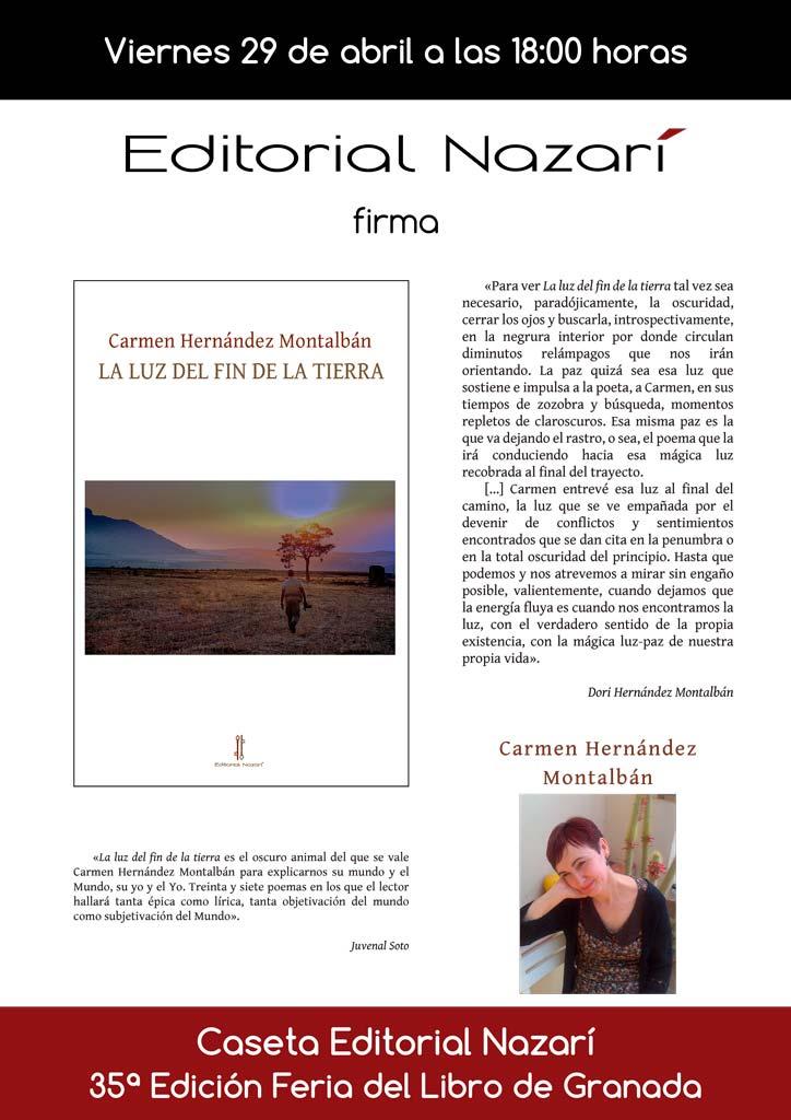 La luz del fin de la tierra - Carmen Hernández Montalbán - Feria del Libro de Granada - FLG