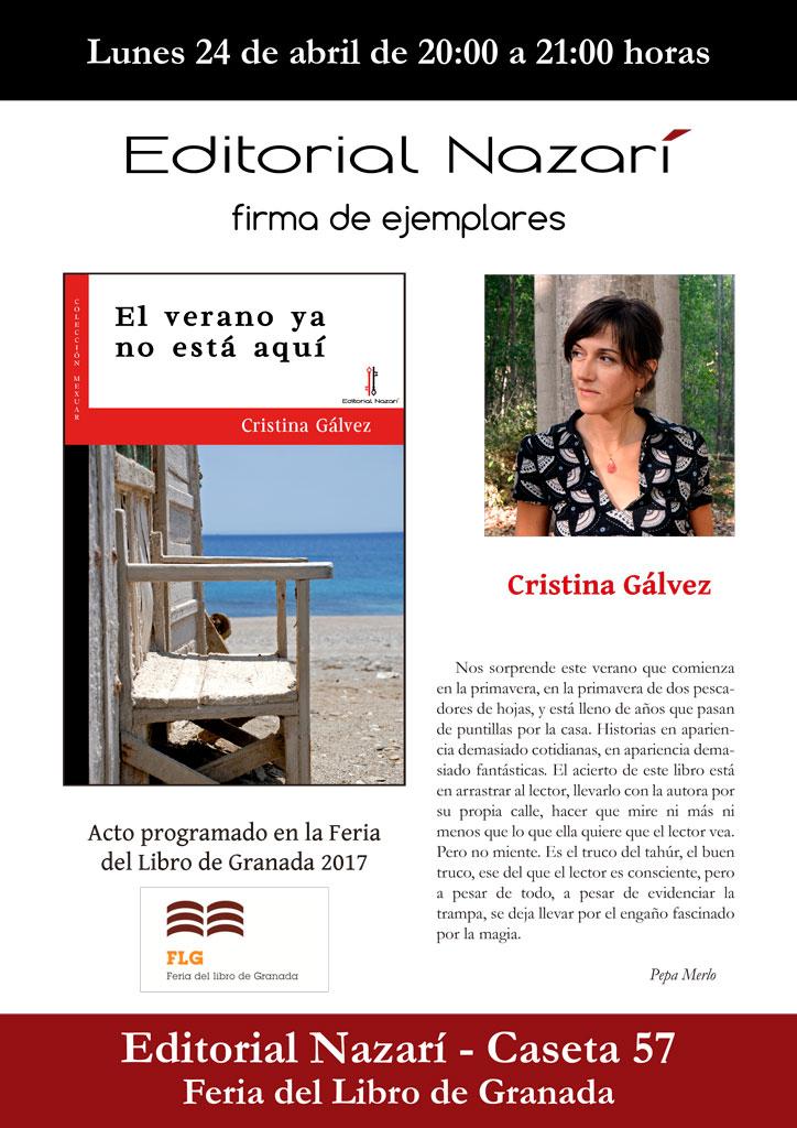 El verano ya no está aquí - Cristina Gálvez - Feria del Libro de Granada - FLG