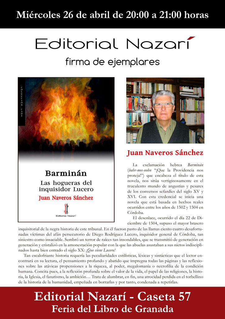 Barminán. Las hogueras del inquisidor Lucero - Juan Naveros Sánchez - Feria del Libro de Granada - FLG