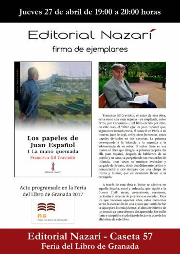 Firma de 'Los papeles de Juan Español. I La mano quemada' en la FLG