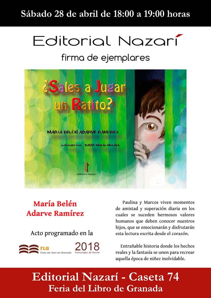 ¿Sales a jugar un ratito? - María Belén Adarve Ramírez - Feria del Libro de Granada - FLG