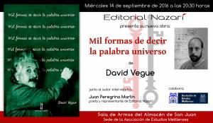 Mil formas de decir la palabra universo - David Vegue - Melilla