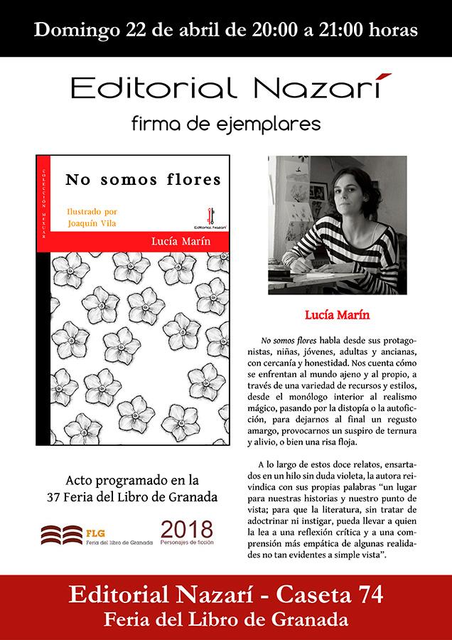 No somos flores - Lucía Marín - Feria del Libro de Granada - FLG18