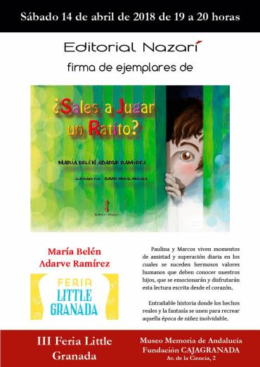 Firma de '¿Sales a jugar un ratito?'en la Feria Little de Granada