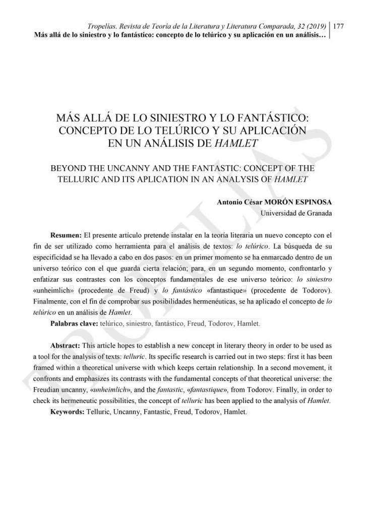 «Más allá de lo siniestro y lo fantástico», por Antonio César Morón