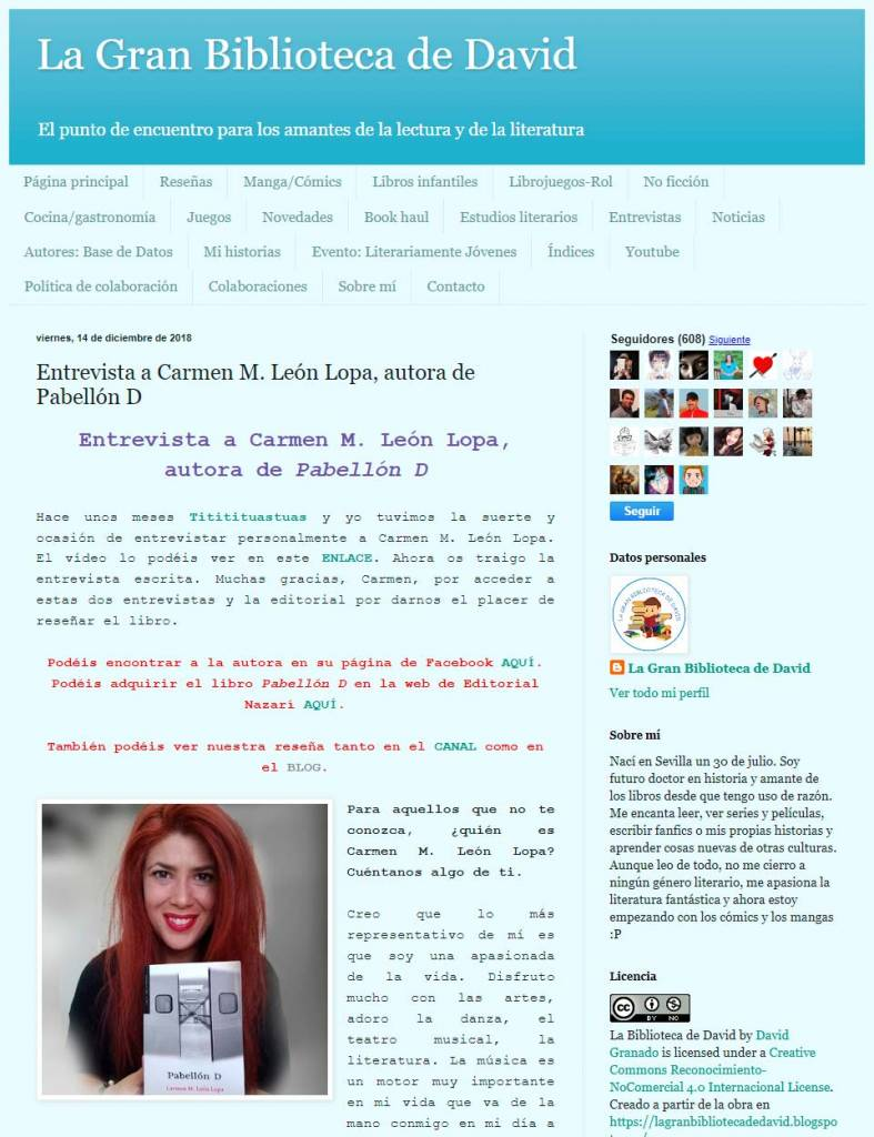 Carmen M. León Lopa - Pabellón D - La Gran Biblioteca de David