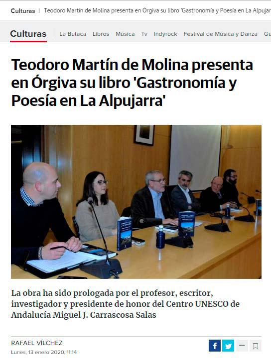Gastronomía y Poesía en La Alpujarra - Teodoro Martín de Molina - Órgiva - Ideal