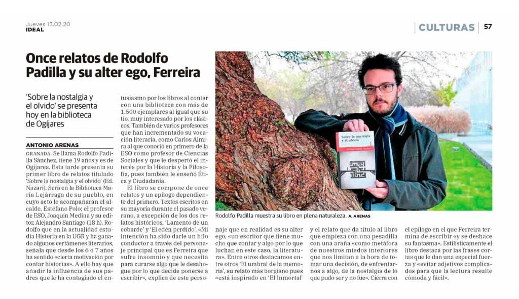 Sobre la nostalgia y el olvido - Rodolfo Padilla Sánchez - Ideal (13-02-2020)