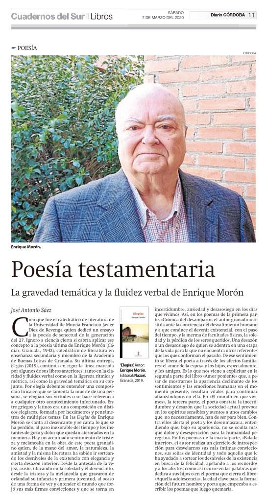 Elegías - Enrique Morón - José Antonio Sáez - Cuadernos del Sur