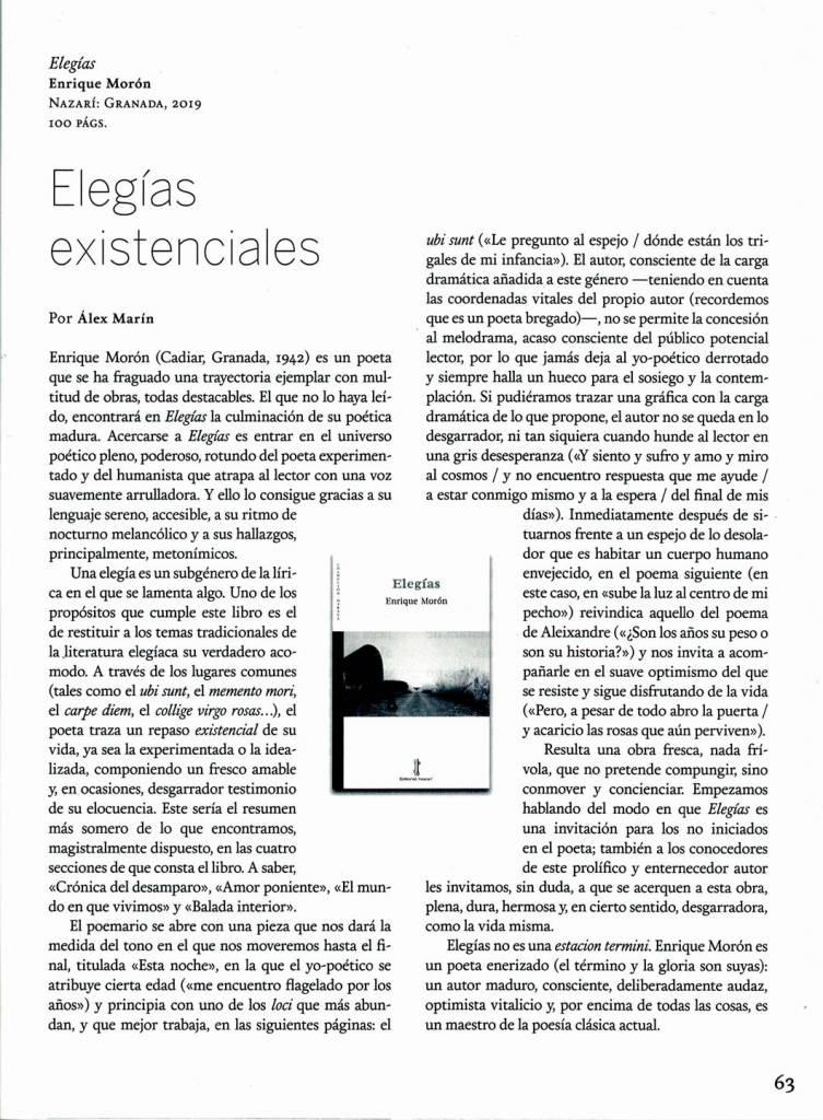 Elegías - Enrique Morón - Quimera - Àlex Marín