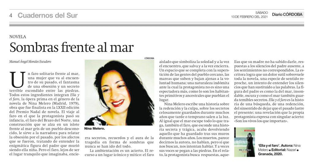 Ella y el faro - Nina Melero - Cuadernos del Sur - Manuel Ángel Morales Escudero 13-02-2021