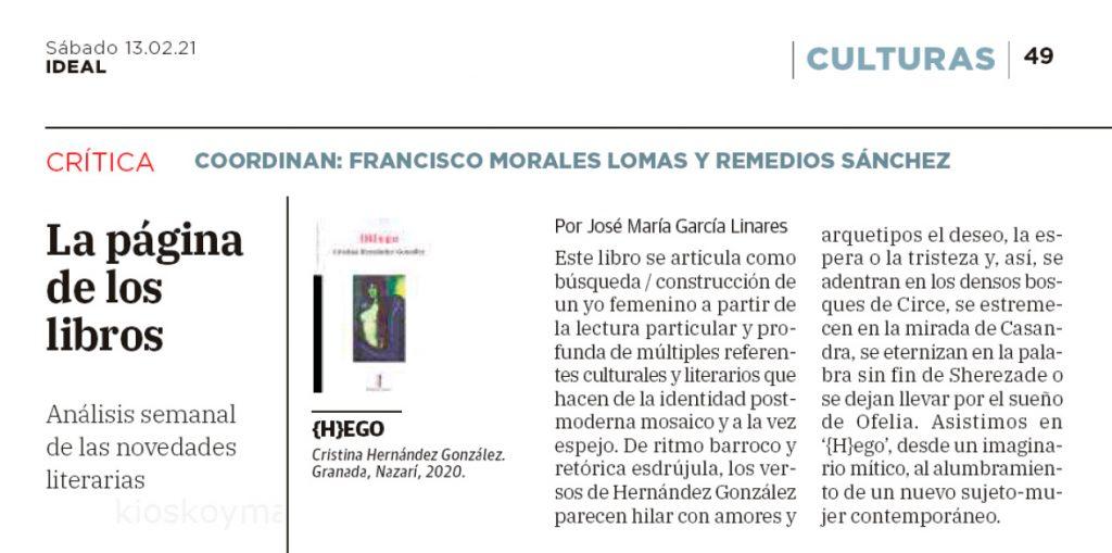 {H}ego - Cristina Hernández González - Ideal 13 02 2021 José María García Linares