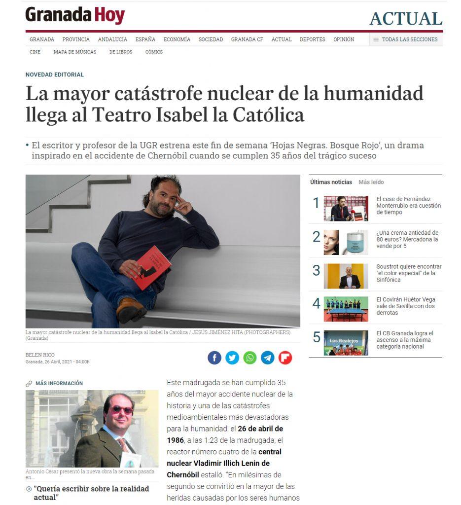 Teatro de alarma - Antonio César Morón - Granada Hoy 2021-04-26