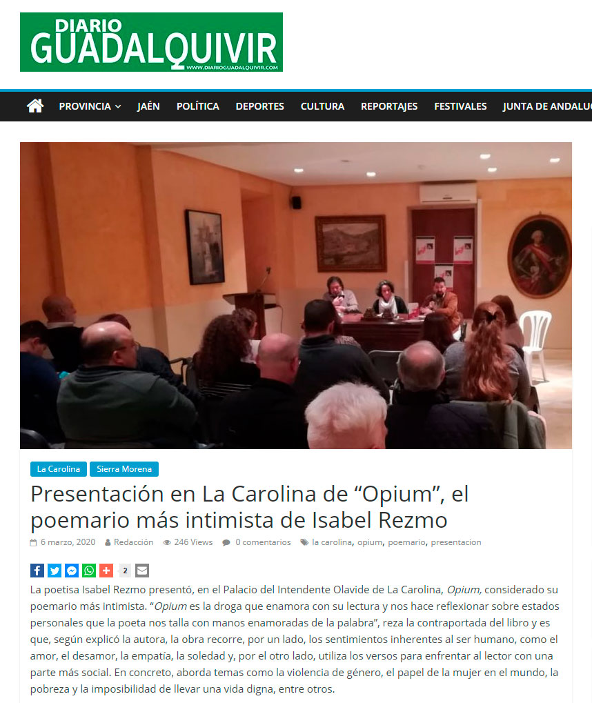 Opium - Isabel Rezmo - Diario Guadalquivir 06-03-2020
