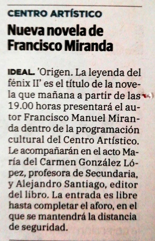 Origen. La leyenda del fénix II - Francisco Manuel Miranda - Ideal (21-05-2021)