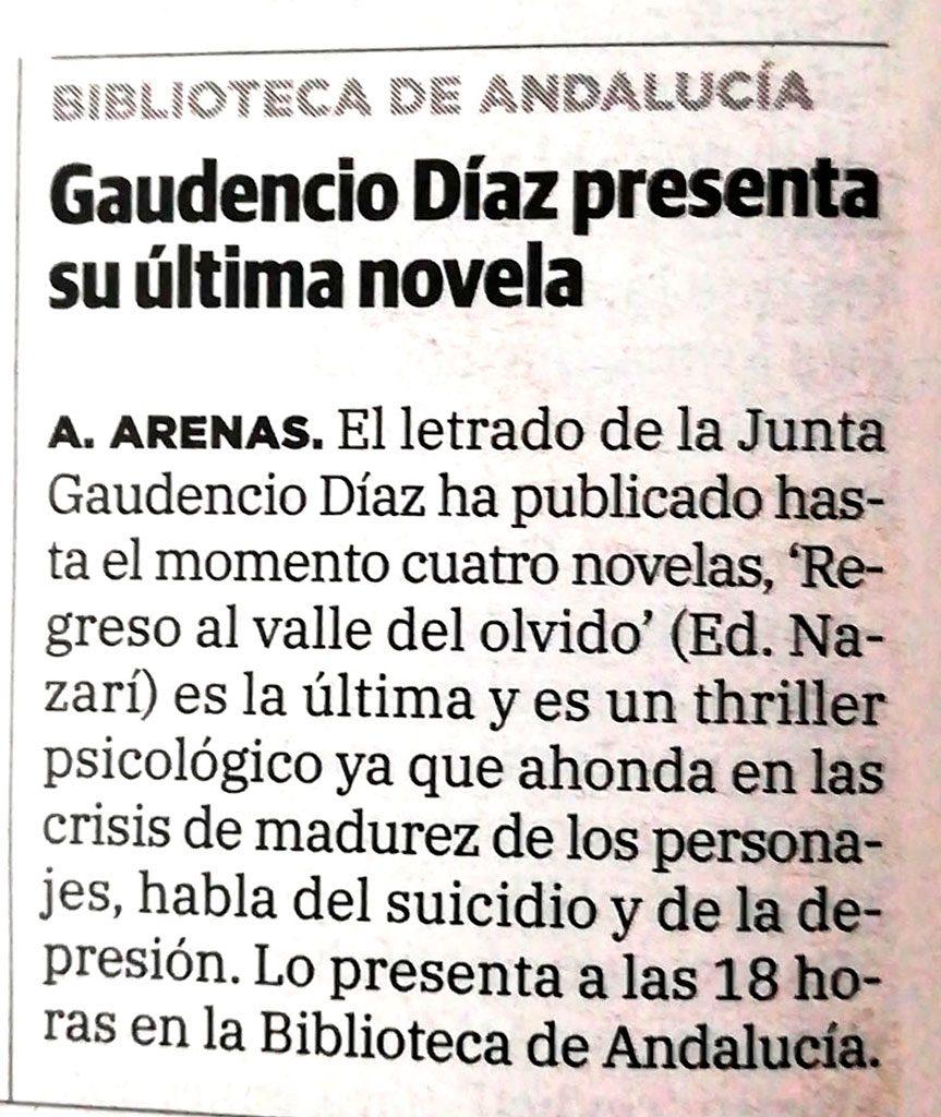Regreso al valle del olvido - Gaudencio Díaz Muñoz - Ideal (20-05-2021
