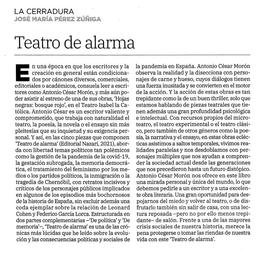 Teatro de alarma - Antonio César Morón - Ideal (02-05-2021)